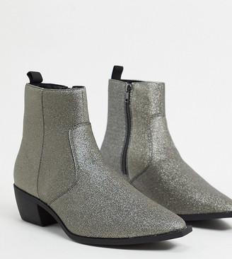 ASOS DESIGN Wide Fit cuban heel western chelsea boots in silver glitter