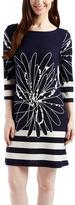 Navy & White Geo Flower Three-Quarter Sleeve Shift Dress