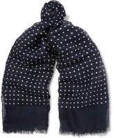 Drakes Drake's Polka-Dot Modal, Linen And Silk-Blend Scarf