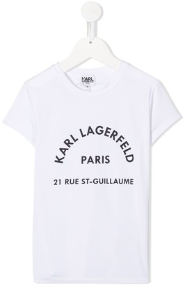 Karl Lagerfeld Paris logo address print T-shirt