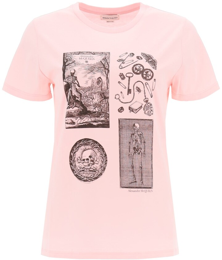 Thumbnail for your product : Alexander McQueen SKELETON PRINT T-SHIRT 42 Pink Cotton