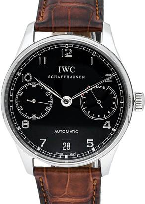 IWC Black Stainless Steel Portugieser 7 Days IW5001-09 Men's Wristwatch 42 MM