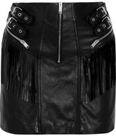 Saint Laurent Fringed Leather Mini Skirt - Black