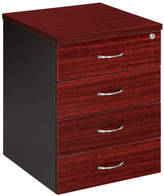 Mobile Pedestal with 4 Drawer Colour: Redwood / Iron Grey