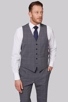 Savoy Taylors Guild Regular Fit Grey Windowpane Waistcoat