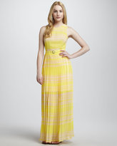 Belted Pleated Silk Maxi Dress