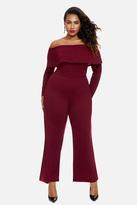 Fashion to Figure Bordeaux Off Shoulder Wide Leg Jumpsuit