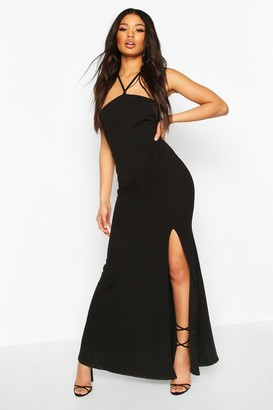 boohoo Strappy Back Split Front Maxi Dress