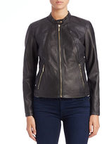 Ivanka Trump Faux-Leather Moto Jacket
