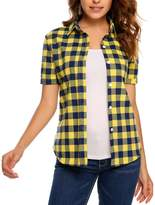 Meaneor Women Plaid Pattern Button Down Shirts Red&White Loose Short Sleeve Shirts?red and white S?