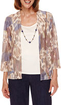 Alfred Dunner Sierra Madre 3/4 Sleeve Layered Top with Necklace -Petites