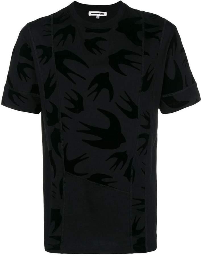 McQ swallow print panelled T-shirt