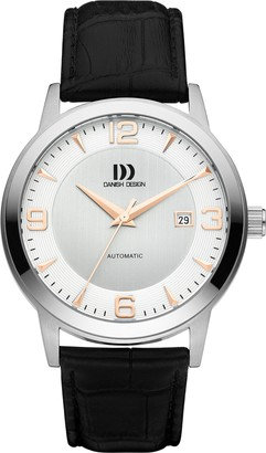 Danish Designs Danish Design Men's Automatic Watch with White Dial Analogue Display and Black Leather Bracelet DZ120361