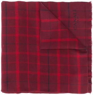 Canali Large Check Print Scarf