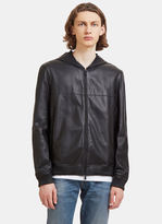 Fendi Men's Hooded Leather Jacket In Black