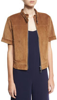 Theory Lavzinnie Wilmore Short-Sleeve Suede Jacket, Brown