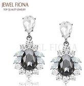 Jewel Fiona Colors Trendy Elegant Teardrop Shape Crystal Diamond Bridal Drop Earrings for Women