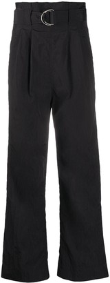 Ganni High-Waisted Belted Trousers