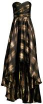 Shoshanna Alleah Silk-Blend Metallic High-Low Strapless Dress