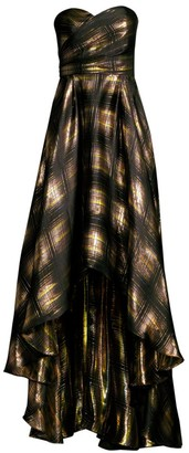Shoshanna Alleah Silk-Blend Metallic High-Low Strapless Dress
