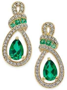 Macy's Certified Ruby (1-1/3 ct. t.w.) and Diamond (1/4 ct. t.w.) Drop Earrings in 14k Yellow Gold (Also Available in Emerald)