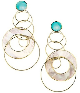 Ippolita Rock Candy 18K Yellow Gold Mother-of-Pearl & Turquoise Ring Chandelier Earrings
