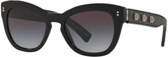 Valentino VA4037 Women's Studded Leather Frame Cat's Eye Sunglasses, Black/Grey