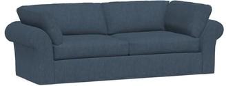 Pottery Barn PB Air Roll Arm Slipcovered Sofa, Heathered Tweed - Indigo