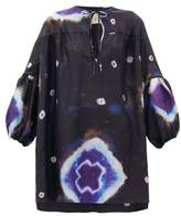 By Walid Abigail Tie-dye Raw-silk Tunic Top - Womens - Navy Multi