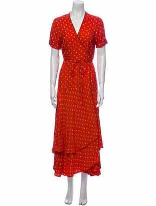 Alexis Polka Dot Print Long Dress Orange