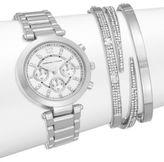 Adrienne Vittadini Glitz Silvertone Bracelet Watch Set