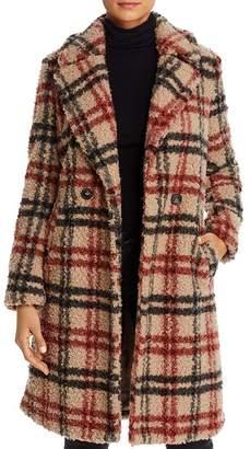 Vero Moda Anne Double-Breasted Plaid Teddy Coat