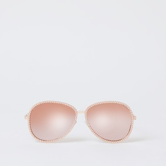 River Island Womens Rose Gold pearl embellish aviator sunglasses