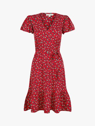 Monsoon Floral Print Jersey Dress, Red