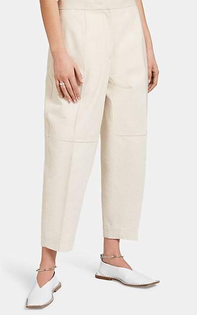 Jil Sander Women's Cotton Canvas Drop-Rise Pants - Beige, Tan