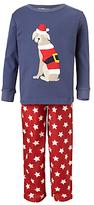 John Lewis Children's Christmas Dog Pyjamas, Blue/Red
