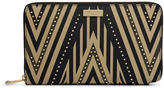 Henri Bendel West 57th XL Geo Tribal Studded Zip Around Continental Wallet