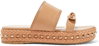 Charlotte Olympia Hackney Studded Leather Platform Slides