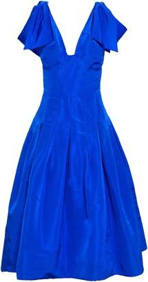 Oscar de la Renta Bow-embellished Pleated Silk-taffeta Midi Dress