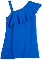 Milly Minis Asymmetric Ruffle-Trim Shift Dress, Turquoise, Size 4-7