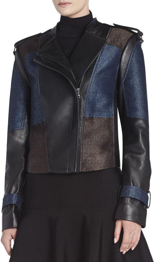 BCBGMAXAZRIA Ross Color-Blocked Moto Jacket
