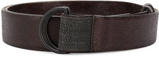 Brunello Cucinelli cracked-effect D-ring belt