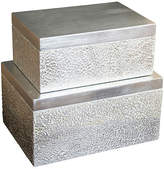 One Kings Lane Set of 2 Parker Rectangular Boxes - Silver