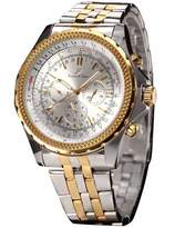 K&S KS Imperial Gold Silver Tone Day Date Automatic Mechanical Men's Stainless Steel Band Wrist Watch KS143