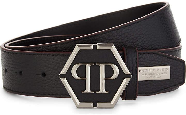 Philipp Plein Logo leather belt