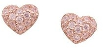Personalized Gems Sterling Silver Rose Gold Plated Cubic Zirconia Heart Earrings