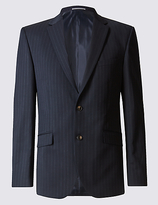 M&s Collection Big & Tall Navy Striped Tailored Fit Jacket