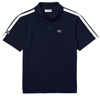 Lacoste Kids Badge and Piping On Sleeve Polo (Infant/Toddler/Little Kids/Big Kids) (Navy Blue/White) Boy's Clothing