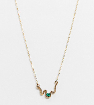 ASOS DESIGN Curve necklace with semi-precious stone and snake pendant in gold tone
