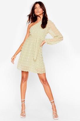 Nasty Gal Womens Let Me Be the One Shoulder Belted Mini Dress - Sage